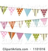 Colorful Patterned Bunting Flags on White