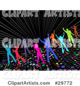 Colorful Silhouetted Men and Women Dancing on a Sparkling Disco Dance Floor on a Black Background