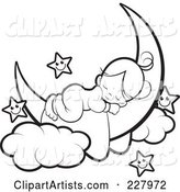 Coloring Page Outline of a Cute Girl Sleeping on a Crescent Moon by Happy Stars