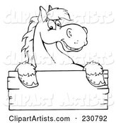Coloring Page Outline of a Happy Horse Looking over a Blank Wood Sign