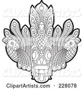 Coloring Page Outline of a Sri Lankan Devil Dancing Mask