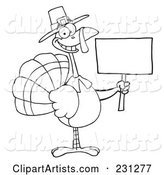 Coloring Page Outline of a Thanksgiving Pilgrim Turkey Bird Holding a Blank Sign