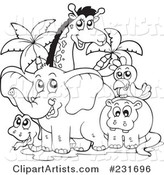 Coloring Page Outline of African Animals