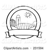 Coloring Page Outline of Farmland with a Blank Banner