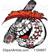 Competitive Batting Baseball Mascot with a Mohawk