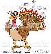 Confused Thankgiving Turkey Bird with Burning Feathers