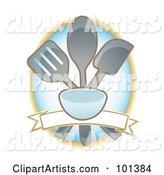Cooking Utensils over a Blank Banner on a Blue Oval