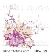 Corner Design Element of Purple Orchid Flowers, Vines and Grunge