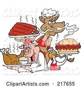 Cow Holding Ribs, Chicken Carrying a Pulled Pork Sandwich and Pig Carrying a Roasted Chicken