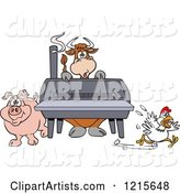 Cow Pig and Chicken by a Bbq Smoker