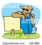 Cow Wearing Shades and Leaning on a Blank Sign with a Pail of Milk
