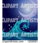 Crescent Moon Stars and and Ocean Wave