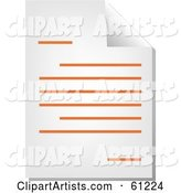 Curling Page of an Orange Word Business Document - Version 2