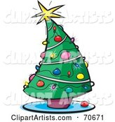 Curving Decorated Christmas Tree with Lights and Ornaments