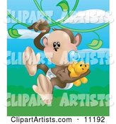 Cute Baby Monkey in a Diaper, Sucking on a Pacifier and Carrying a Teddy Bear While Swinging on Vines in a Rainforest