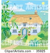 Cute Cottage with a Landscaped Yard, Overlooking the Coast on a Sunny Day