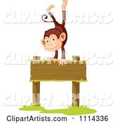 Cute Happy Monkey Doing a Handstand on a Blank Wood Sign