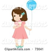 Cute Little Brunette Girl Holding a Balloon and Eating an Ice Cream Cone
