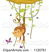 Cute Monkey Hanging from a Vine and Playing with Butterflies
