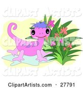Cute Pink Gecko with Purple Stripes, Sticking Its Tongue out and Standing by Flowers