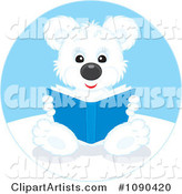 Cute Polar Bear Sitting and Reading a Book