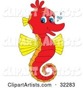 Cute Red and Yellow Seahorse with Blue Eyes, Facing Right and Smiling at the Viewer, with Bubbles