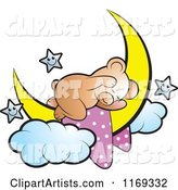 Cute Sleeping Bear on a Crescent Moon with Stars