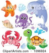 Cute Starfish Dolphin Octopus Crab Sea Turtle and Shells
