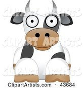 Cute White and Black Dairy Cow Resting and Facing Front, on a White Background