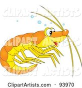 Cute Yellow and Orange Prawn or Shrimp with Bubbles