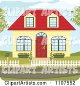 Cute Yellow Suburban House with a Red Roof and Door
