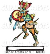 Dancing Mayan Warrior with a Shield and Spear