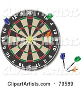 Dart Board with Colorful Darts in the Lower Corner