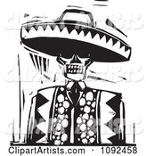 Day of the Dead Skeleton Wearing a Sombrero Black and White Woodcut