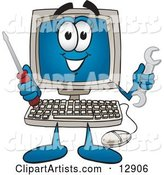 Desktop Computer Mascot Cartoon Character Holding a Wrench and Screwdriver
