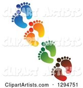 Diagonal Line of Blue, Orange, Green and Red Baby Foot Prints