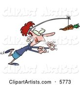 Dieting Woman Chasing a Chocolate Covered Carrot on a Stick