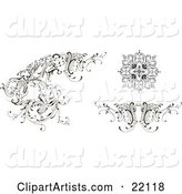 Different Floral Design Elements, Black and White