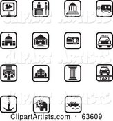 Digital Collage of 15 Black and White Square Icons; Transportation and Architecture
