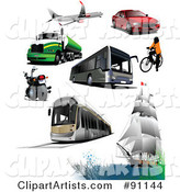 Digital Collage of a Plane, Big Rig, Motorcycle, Bus, Tram, Boat, Bicyclist and Car