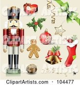 Digital Collage of a Toy Soldier, Gift Box, Holly, Ornament, Gingerbread Man, Walnut, Bells, Stocking, Bow and Merry Christmas Star