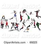 Digital Collage of Basketball Players Shooting Hoops