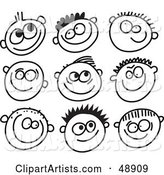 Digital Collage of Black and White Grinning Boy Stick People Faces