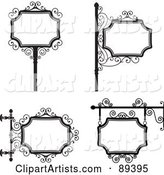 Digital Collage of Black and White Wrought Iron Storefront Signs - Version 3