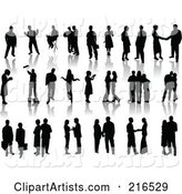 Digital Collage of Black Silhouetted People Standing, with Reflections