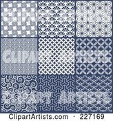 Digital Collage of Blue and White Repeat Asian Style Background Patterns