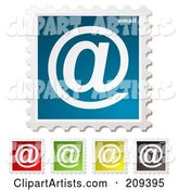 Digital Collage of Colorful Email Postage Stamps
