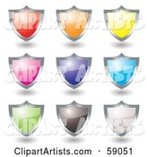 Digital Collage of Colorful Shield Icon Buttons Rimmed in Chrome - Version 3