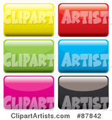 Digital Collage of Colorful Shiny Rectangular App Buttons on White