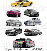 Digital Collage of Coupes and Sports Cars
